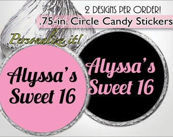 CUSTOM MESSAGE Kiss Stickers, Candy Labels, Sweet 16, Girl Baby Shower, Bachelorette Party, Bridal Shower, Birthday Favor, Personalized