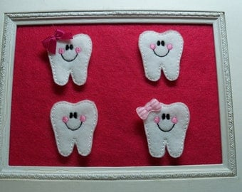Happy Tooth Feltie  Tooth Fairy , First Tooth  with Bow or Without