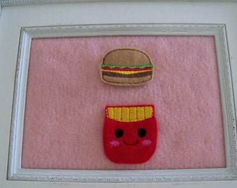 Cheeseburger Feltie, French Fries Feltie  Your Choice Always Precut