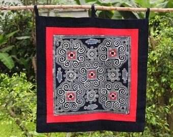 Hmong Batik Wall Hanging Hand Dawn Hill Tribe Home Decor Tribal Art