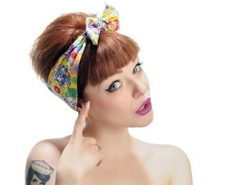 Dia de los Muertos Day of The Dead Yellow Sugar Skull headband  headscarf bandana head wrap