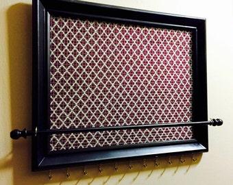 Custom Red Quatrefoil Framed jewelry organizer / jewelry holder