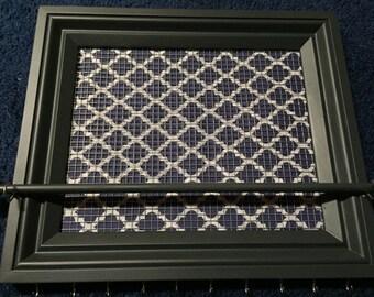 Custom Blue White Quatrefoil framed jewelry organizer / jewelry holder
