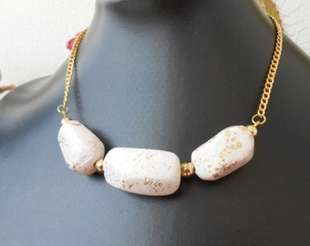 White and Gold Polymer Clay Necklace