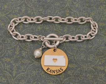 Kansas Love Toggle Bracelet with Pearl Accent - 22497