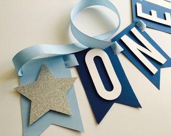 Light Blue Navy blue sliver glitter boys 1st birthday highchair banner