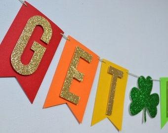 Get Lucky St. Patrick's Day Rainbow Shamrock Banner