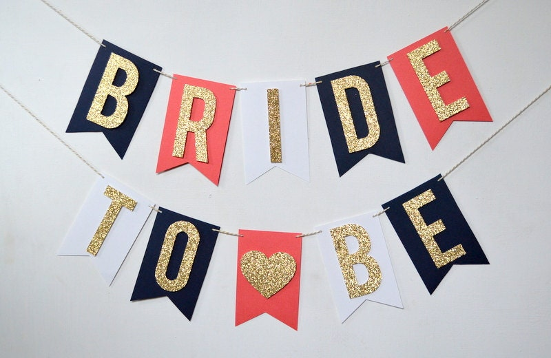 Navy Blue Coral and Gold Glitter Bride To Be