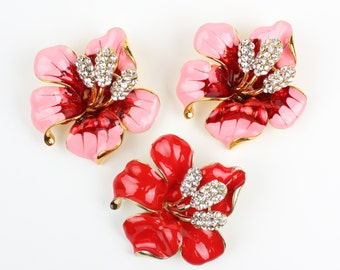 Set of 3 Pink Red Flower Brooch for DIY Brooch Bouquet, Brida Bridesmaid Gift, Wedding Accessories Embellishment
