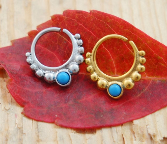 1.2mm (16G) Septum Ring 10mm Nose Bull Hoop Body Piercing Cartilage-Ornate Ethnic Indian Turquoise Blue Gem Bead Clicker~Yellow Gold Silver