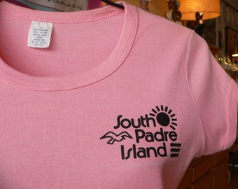 1970s Vintage Coral South Padre Island T-Shirt