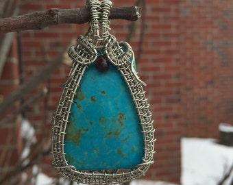 Ocean jade and garnet gemstone wire wrapped pendant