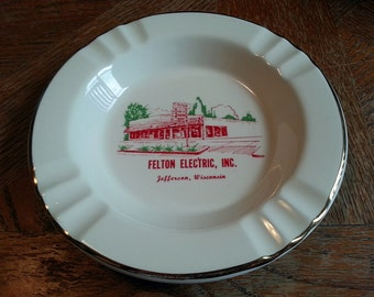 Felton Electric Inc White Ceramic Ashtray - Jefferson, Wisconsin - GE Maytag RCA Appliances