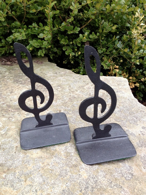 Musical bookends black metal treble clef - Treble clef bookends ...