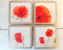 COASTERS!! Set of 4 Lovely Poppy Coasters