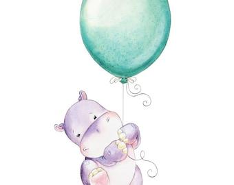 Hippopotamus, Hippo, Watercolor Hippo, Baby Hippo, Watercolor Nursery, Nursery Decor, Nursery Art, Hippo Nursery, Nursery Hippo Art