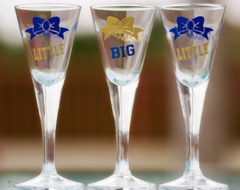 GBIG, BIG, LITTLE Sorority martini shot glasses, soft pink bows, dark red color, mint, white, 1 oz sorority sisters. Priced individually
