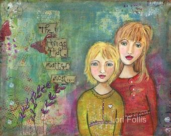 "Sisters  An 8"" x 10"" mixed-media print"