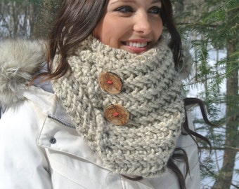 Oatmeal Chunky Hand Knit Cowl with Buttons