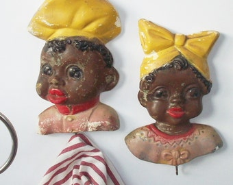 Vintage Chalkware Wall Plaques / Hooks / Boy and Girl / 1940's Kitchen