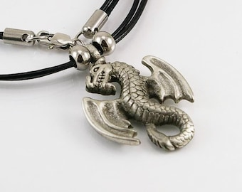 Dragon mens necklace with pendant in free lead pewter on leather cord, mens necklace, dragon necklace, mens jewelry,mens gift,dragon pendant