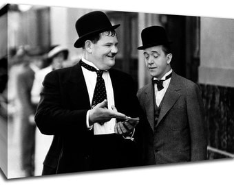 Laurel And Hardy Framed Canvas Art Picture Huge A1 Size 32 X 22 New