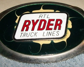 """Free Shipping RTL RYDER Truck LINES Ovwl Enameled Belt Buckle 3 7/8"""" x 2 1/2"""""""