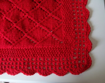 Red Blanket, Baby Blanket, Red Knit, Baby Shower, Baby Gift, Red Baby Blanket, Shower Gift,  Hand Knit, Crocheted Border, Baby Layette