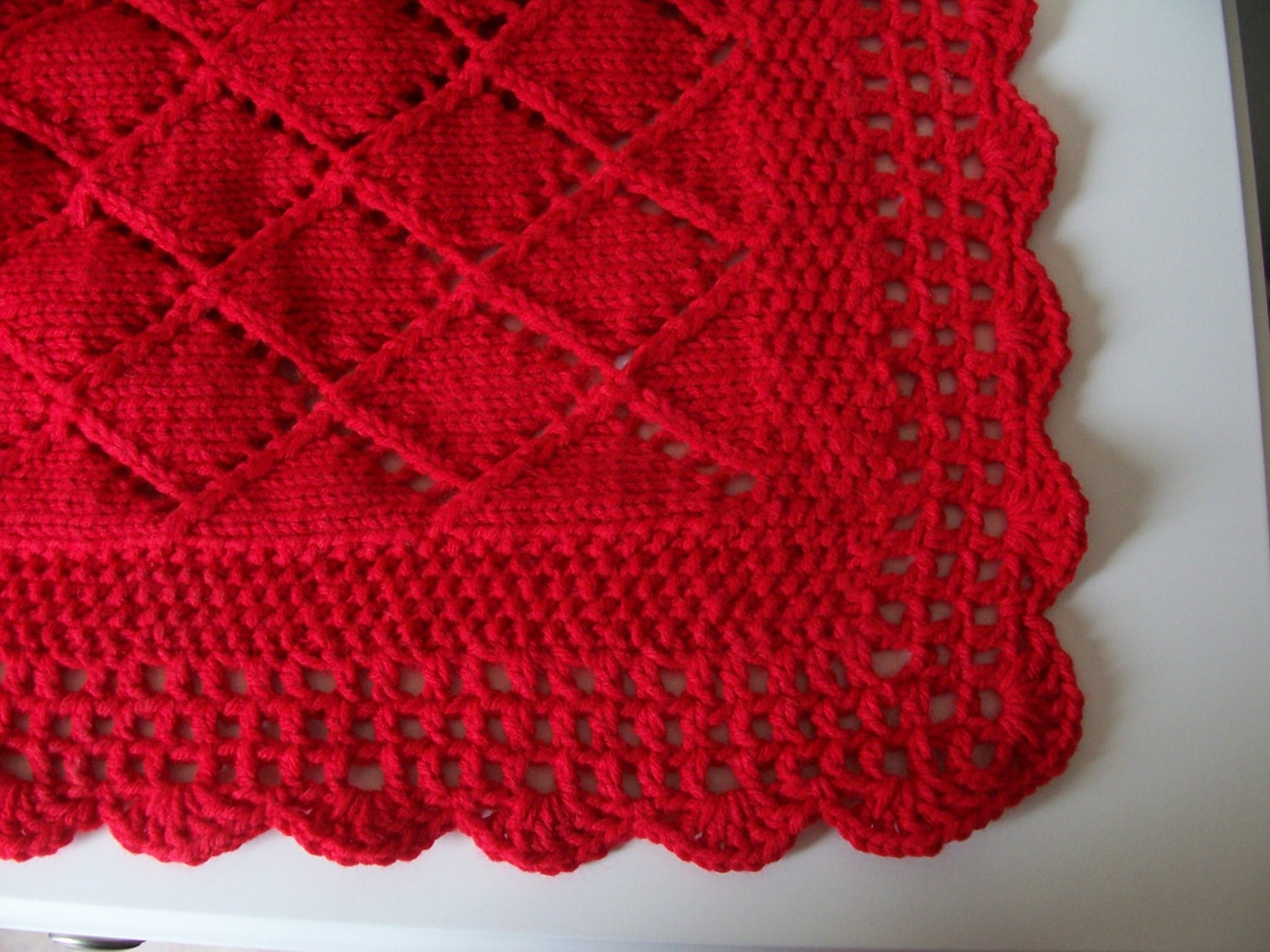 Knitting Edges For Baby Blankets : Red blanket baby knit shower gift