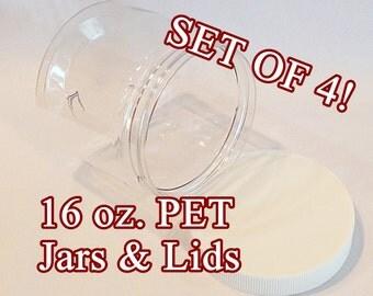 16 oz. Clear PET Jars - SET of 4 + Lid (