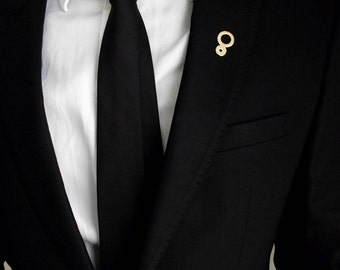 Groom's boutonniere, tie tack, groom's pin, gentleman brooch, men accessories, suit pin, minimalistic lapel pin, wedding circles boutonniere