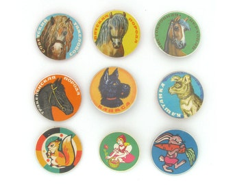 Animals and Cartoon Characters, Badge, Vintage collectible badge, Pin, Soviet Union, Made in USSR, 1980s, 80s