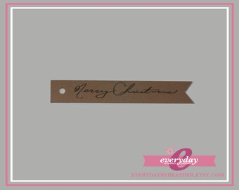 "Merry Christmas Flag Tags: 3"" long x 0.5"" high"