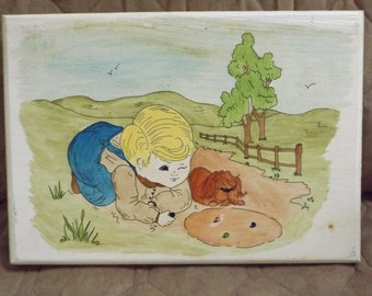 Vintage Boy Playing Marbles Wall Plaque