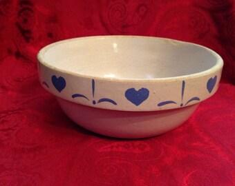 Vintage Crockery Heart Mixing Bowl