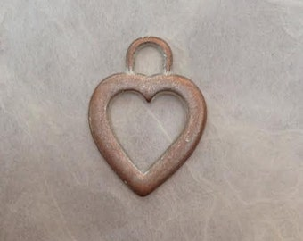 0613.006 Silvered Copper Heart Charm 12mm