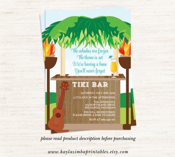 Luau Summer Party Invitation Printable By KaylaZimbaPrintables