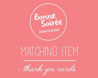 Matching Thank You Card for your Invitation // 5 x 3.5 inch