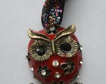 Rhinestone enamel red owl key ring, key chain, bag charm, hanging decoration