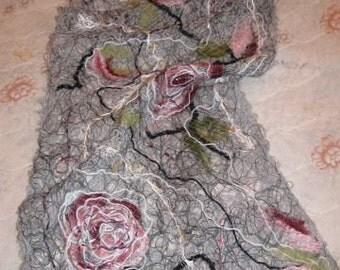 Gray handmade shawl , crazy wool technique, for women//180 cm long 40 cm wide//