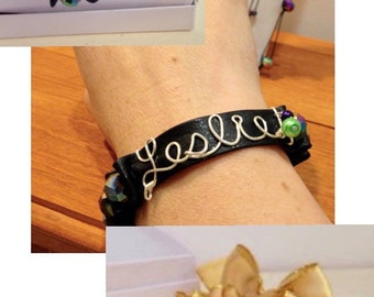 Name Bracelet with stretch and your choice Beads and Ribbon size fits all