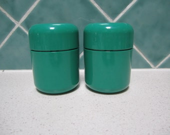 Green Retro Salt and Pepper Shakers - 1970's - Decor