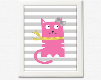 Baby girl kitten wall art print -UNFRAMED- baby girl nursery art, yellow, pink, cat, kitten,grey,kitty, pink and gray, girls artwork