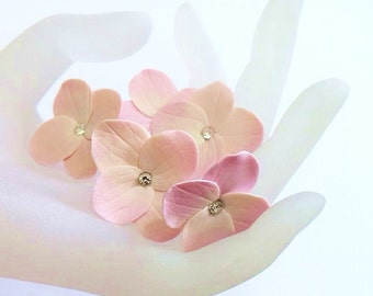 Pink Hydrangea - Flower Accessories - Hydrangea Wedding Hair Accessories, Wedding Hair Flower Hair - Set of