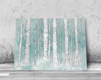 Birch trees, Art Print, Giclee, nature illustration, forest, birches, trees