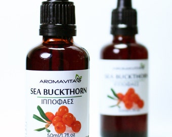Sea Buckthorn Oil 1.7FL.OZ/50ML Cold Pressed Hippophaes Rhamnoides Oil. Promotes skin Hydration & Elasticity