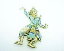 Siam Sterling Silver Enamel Dancing Figure Brooch, Jewellery, Jewelery, Costume, REF:236D