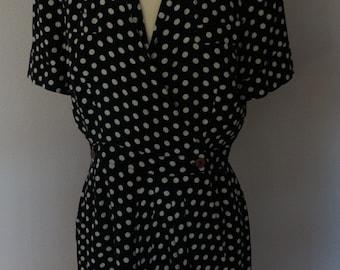 Vintage Black with Ivory Poka Dot Dress Size 6