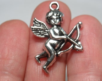 Special Offer 7 Cupid Angel Charms Antique Silver 28 x 22mm - SC328