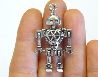 2 Antique Silver Robot Charm (double-sided) 4.6 x 2.5cm - SC449